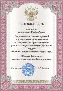 Благодарственное письмо от ФГКУ комбинат «Гигант» Росрезерва. Спецоценка (СОУТ)