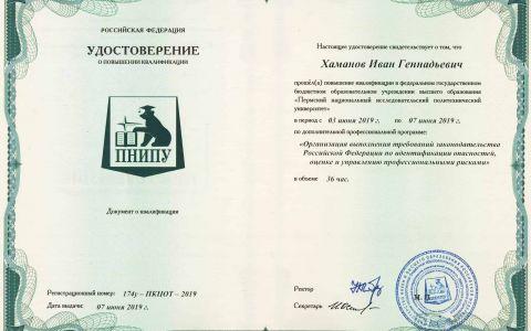 Удостоверение - Общее по проф. рискам (Хаманов И.Г.)